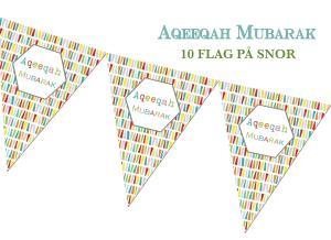 Aqeeqah Mubarak flag - 10stk på snor