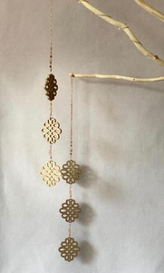 Flower decoration - 3 pcs in light gold