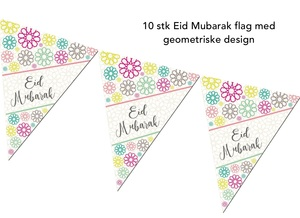 Geometriske Eid Mubarak flag - 10 stk