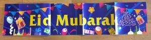 Eid Mubarak banner - blå 1m