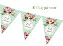 Eid Mubarak bunting - 10 flags - Green and Flowered