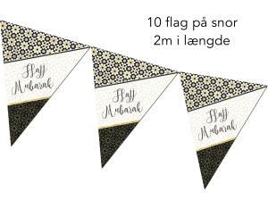 Hajj Mubarak flag - 10 stk på 2m snor