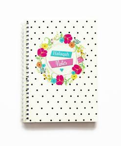 Notesbog - Halaqah notes med blomster
