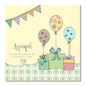 Postkort - Aqeeqah - balloner og gaver