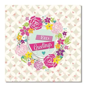 Postkort - Eid Greetings - Blomsterkrans med hjerter